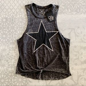 Chaser Star Burnout Tie Front Tank Top New